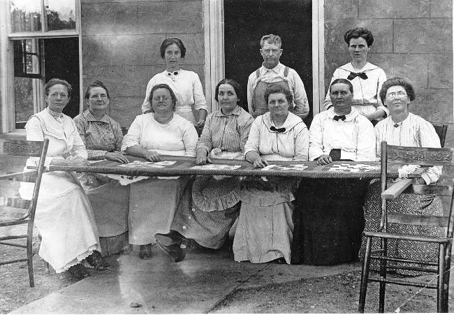 The Ladies Aid quilting in front of Bethany Church - 1926