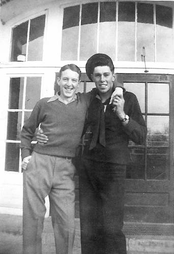 10a Judson Berry and Lee Mace in front of Tuscumbia High School - 1945